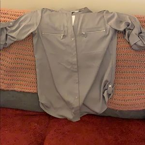 Calvin Klein grey dress blouse size medium